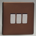 Varilight 3 Gang 1 or 2 Way 10A Rocker Light Switch Screwless Mocha Dec Switch - XDM3S